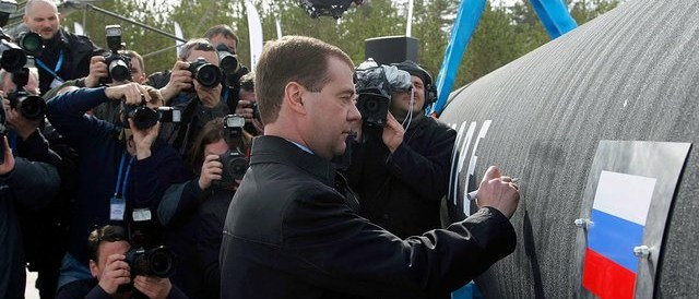 Medvedev during celebrations concerning the construction start of the Nord Stream pipeline. (Photo  by Kremlin.ru, CC BY 3.0)