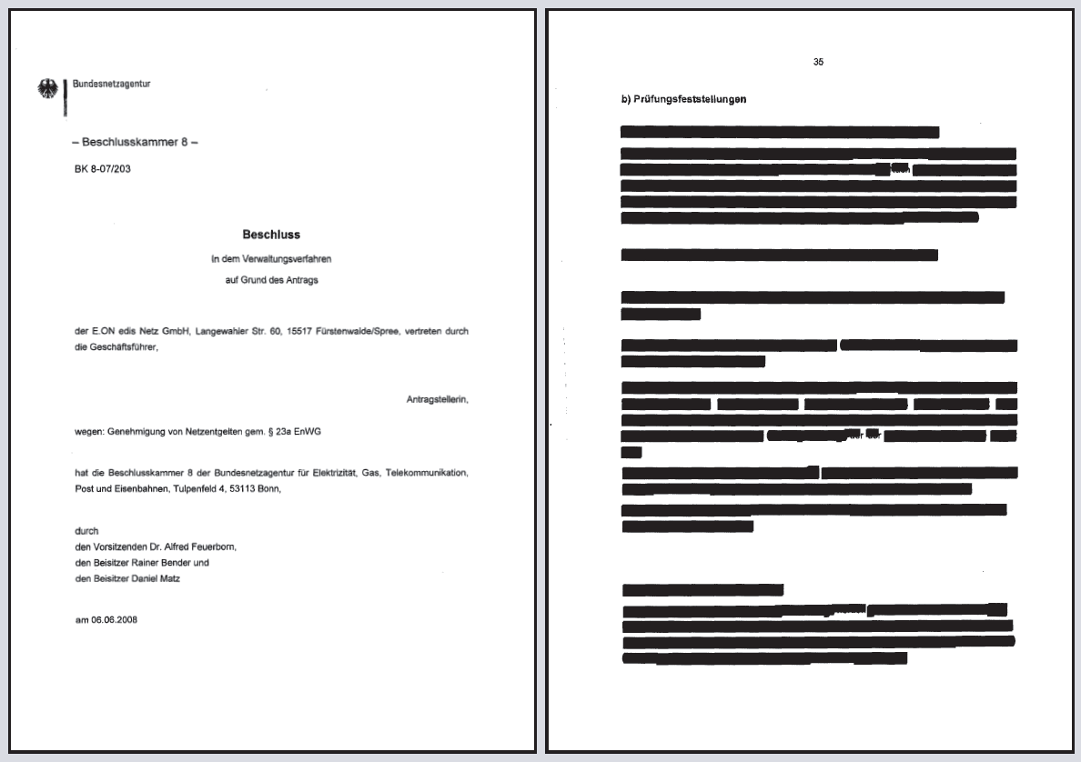 Censored document by Bundesnetzagentur