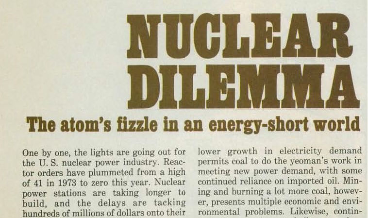 "An excerpt from BusinessWeek, 25 December 1978 with the title ""Nuclear Dilemma""."