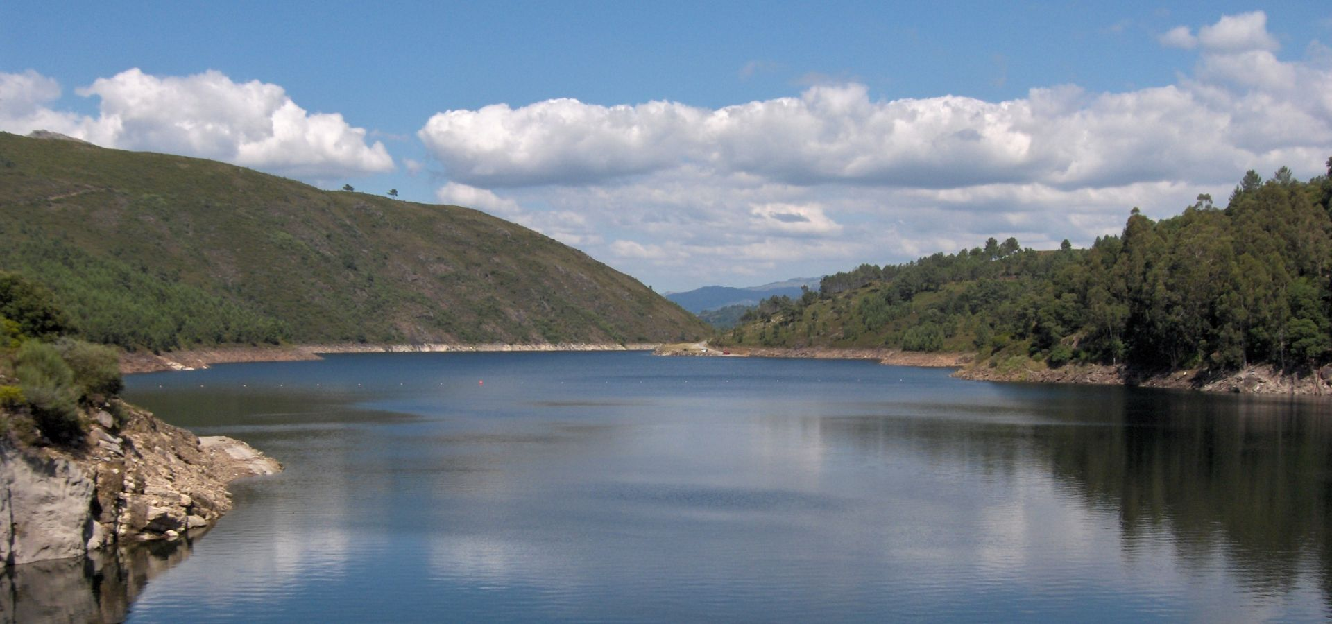 The Alto Lindoso dam in Portugal looks like a usual lake.
