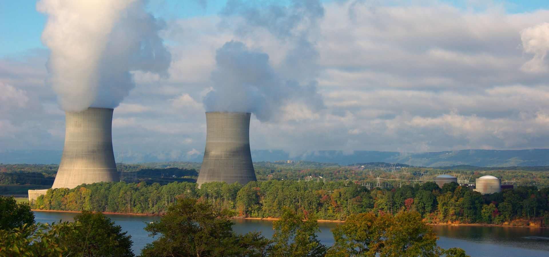 A nuclear power plant on a river