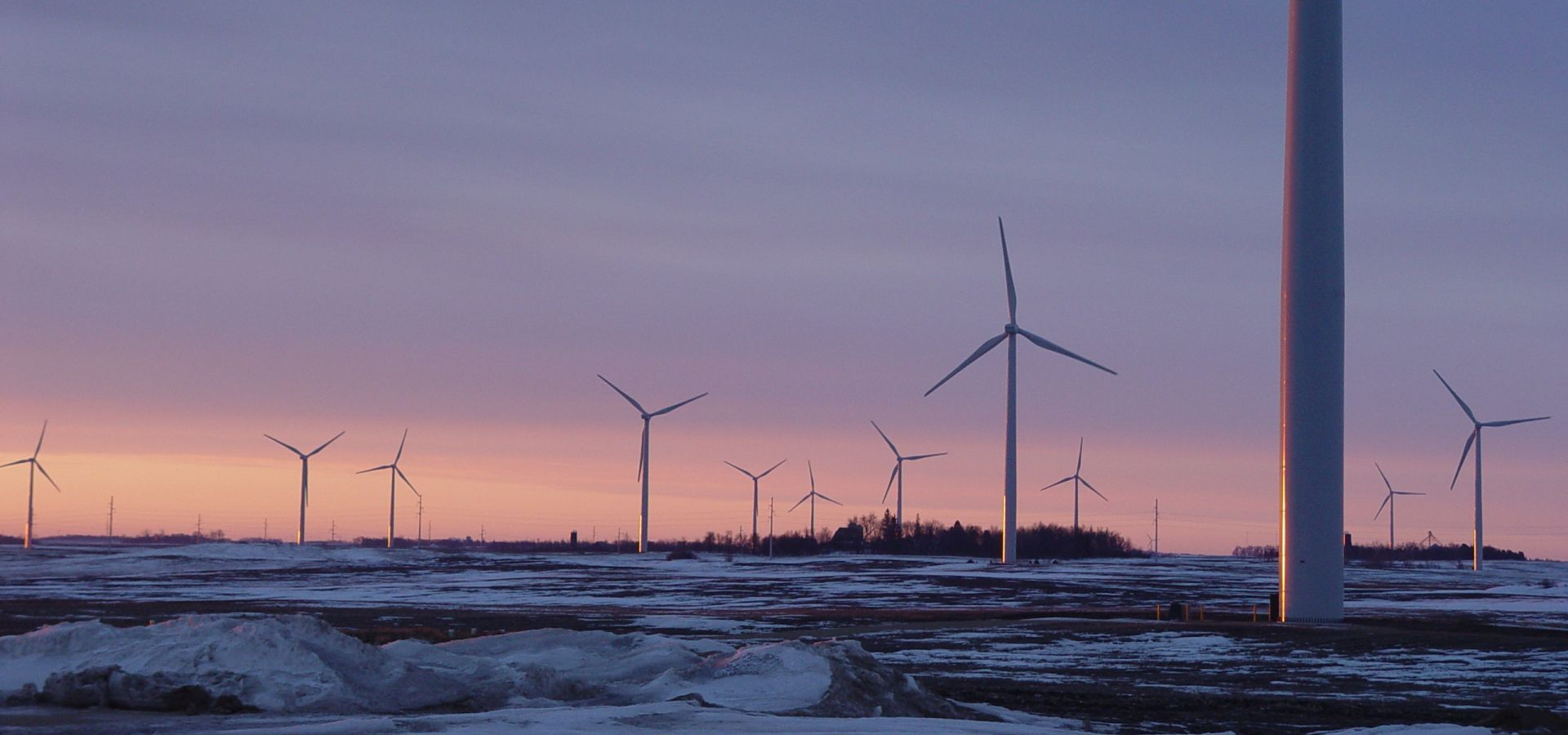 The Fenton wind park in Minnesota at sunset