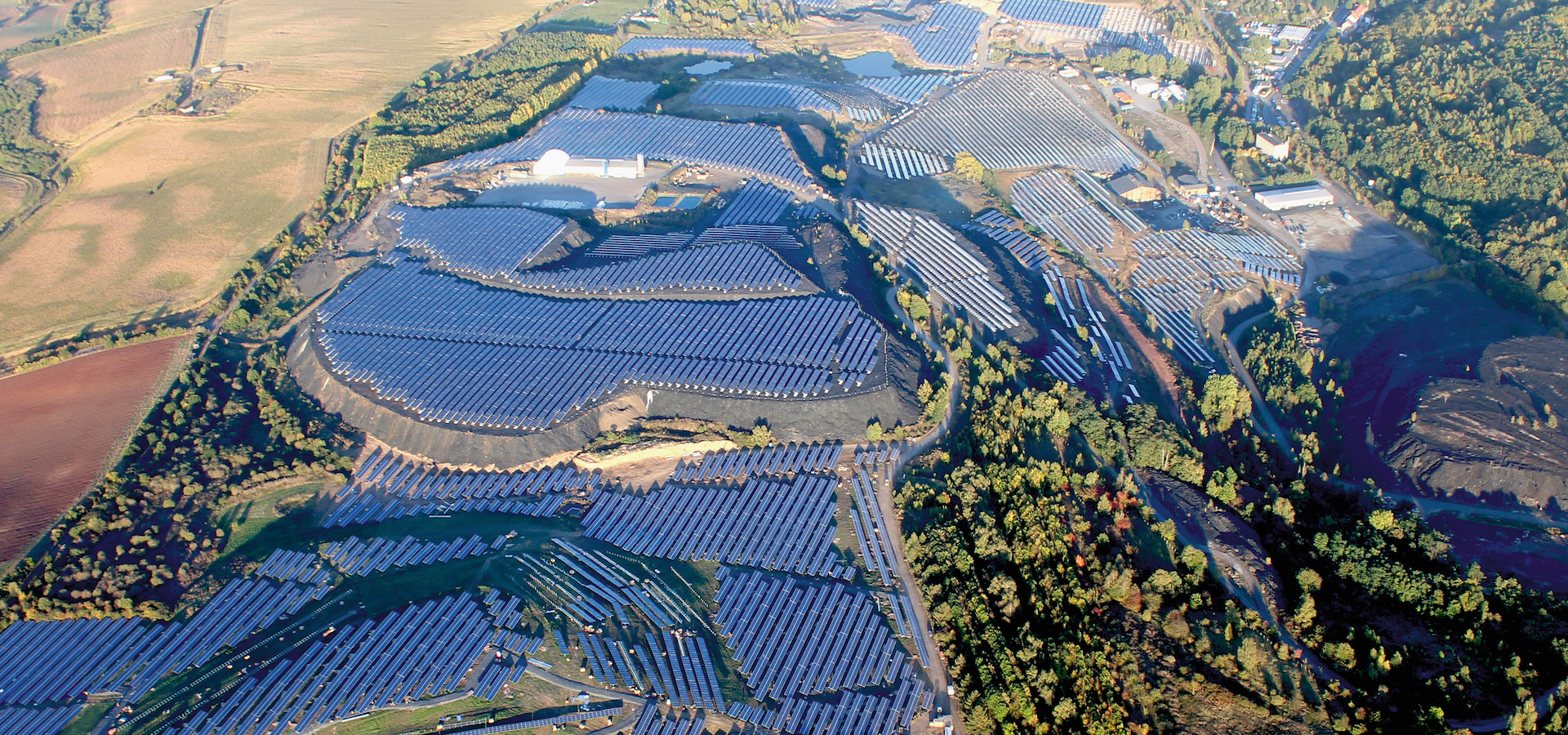 Solar Park from above on a sunny day