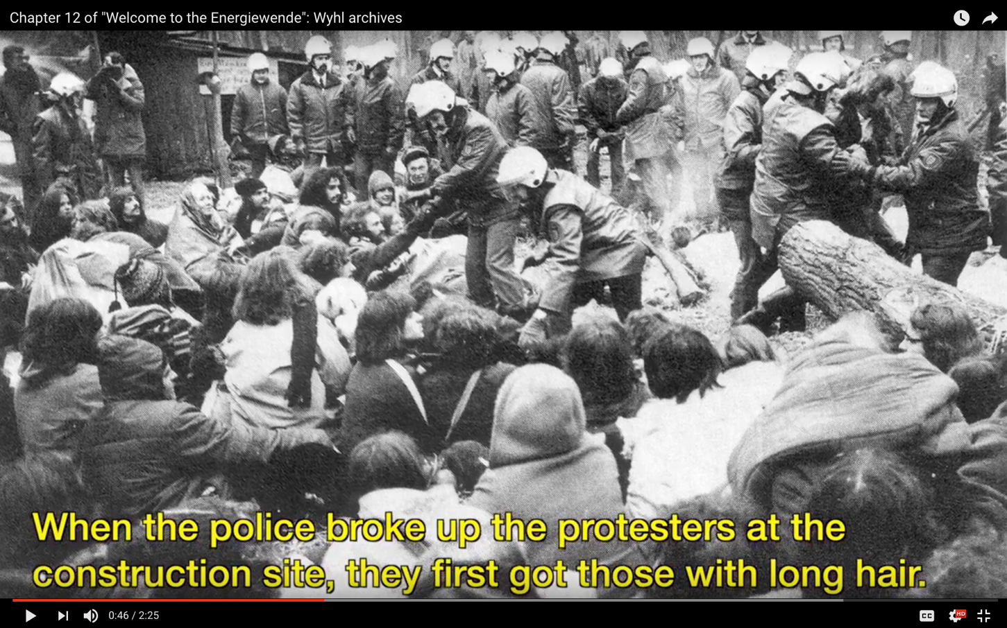 A screenshot from the 2013 documentary Welcome to the Energiewende showing police brutality against German citizens against the industrialization of their lands. Source: Petite Planète.