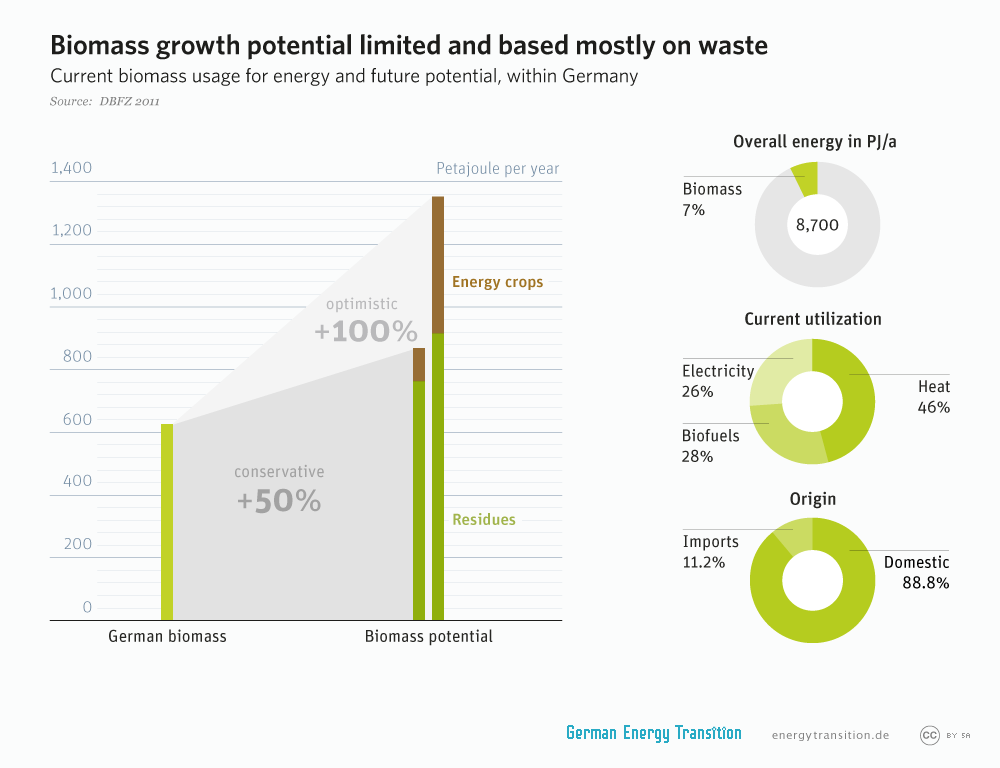 energytransition.de - graphic: graphic: Biomass growth potential limited and based mostly on waste
