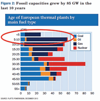 Age of European thermal plants by main fuel type