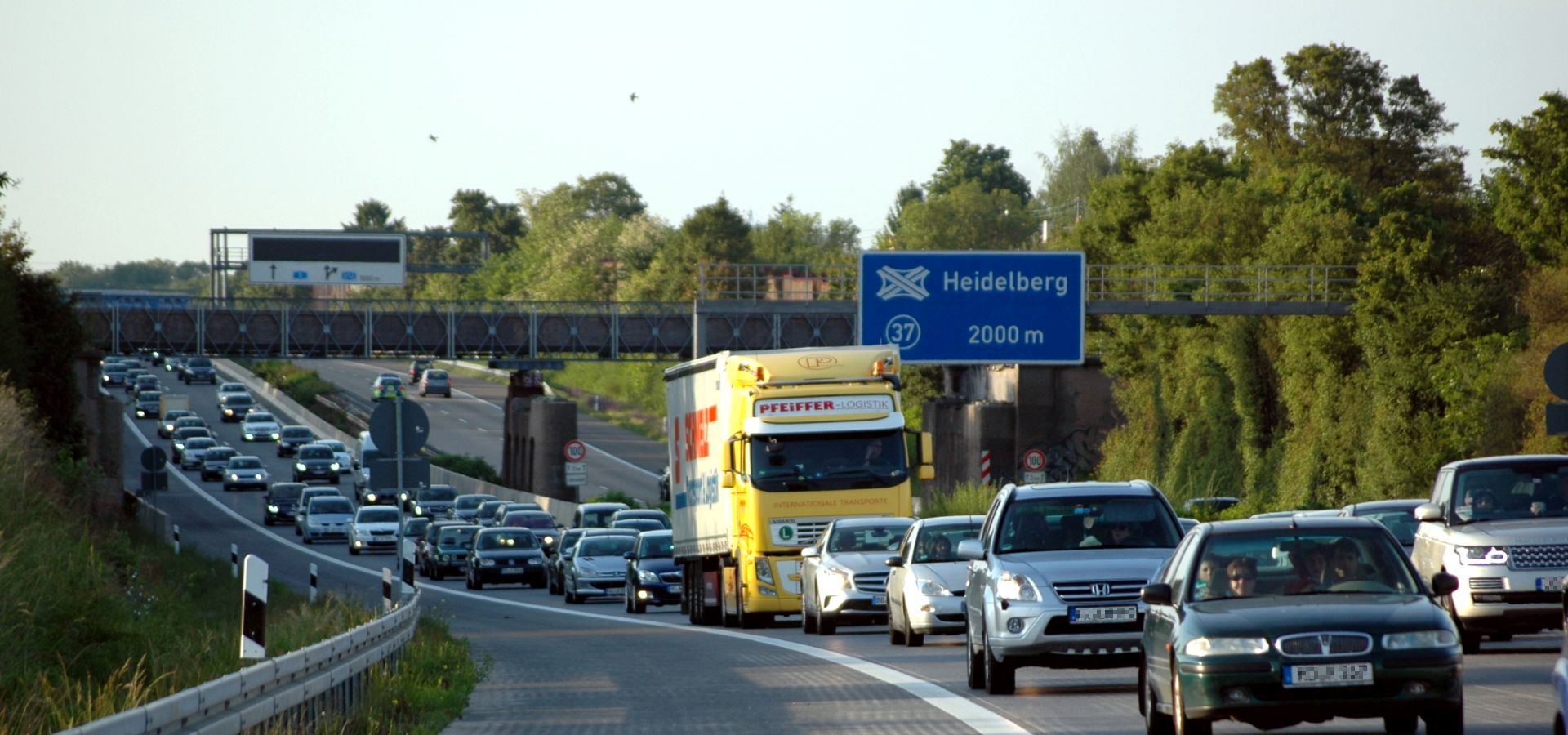 Traffic jam on a freeway in Germany.