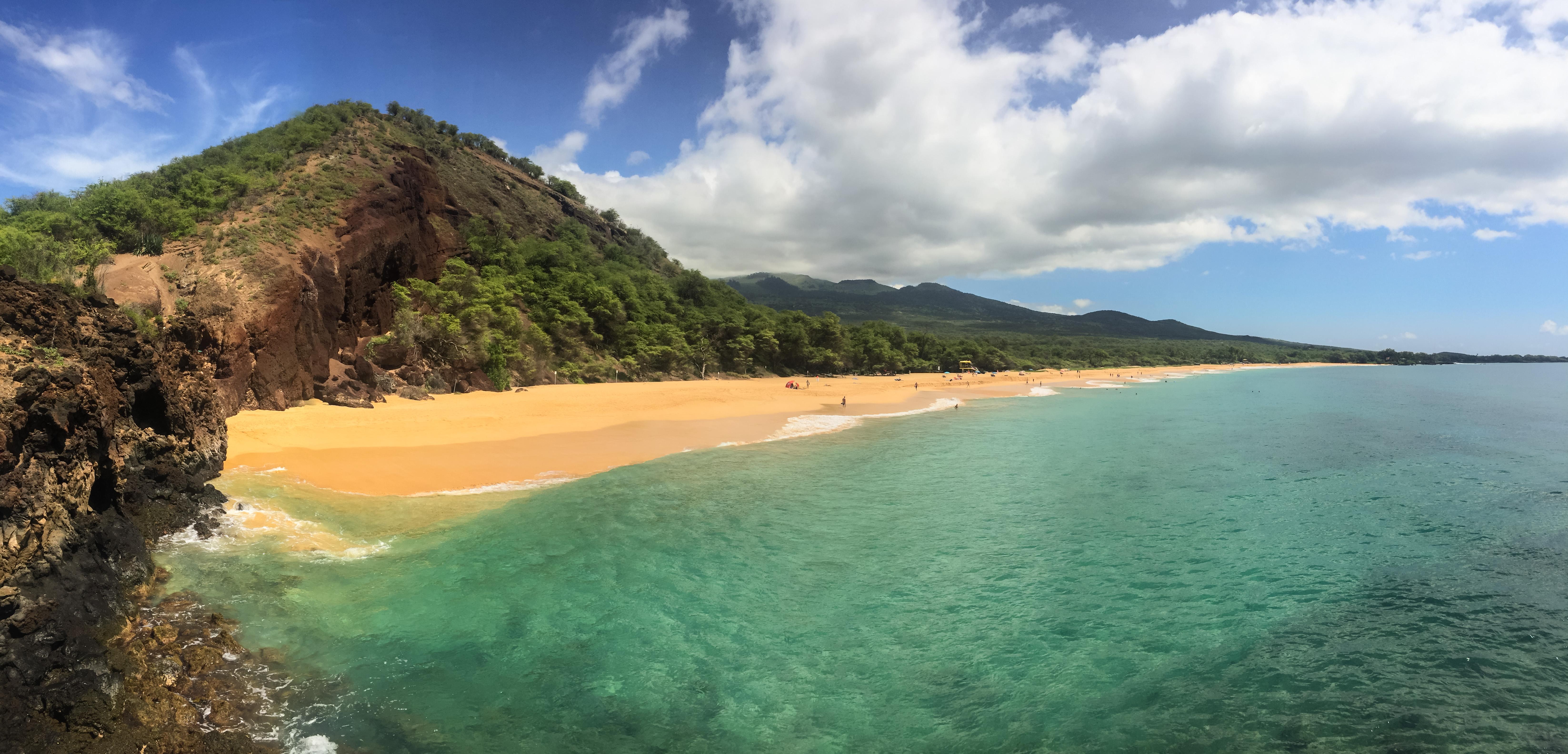 Hawaii Maui Makena Big Beach on a sunny day