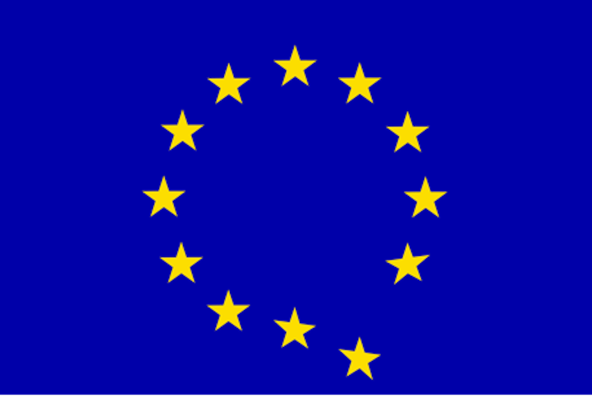 """EU Flag with a star falling off in reference to """"Brexit"""""""