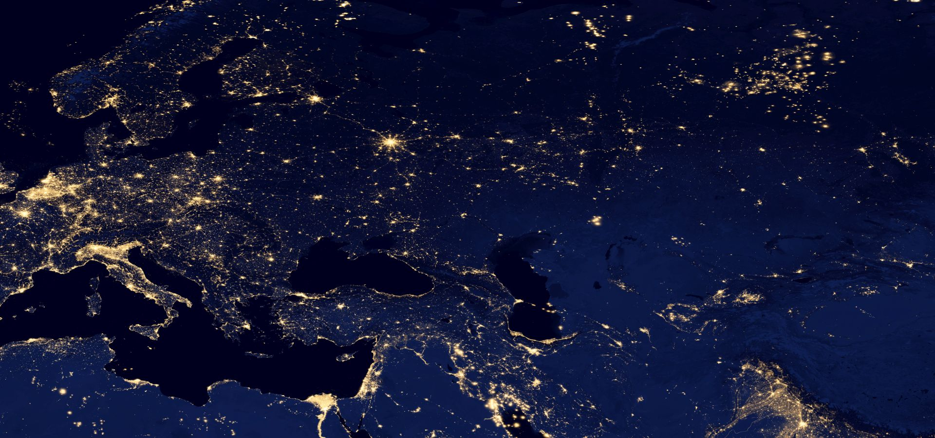 lights of Europe, northern africa, asia by night