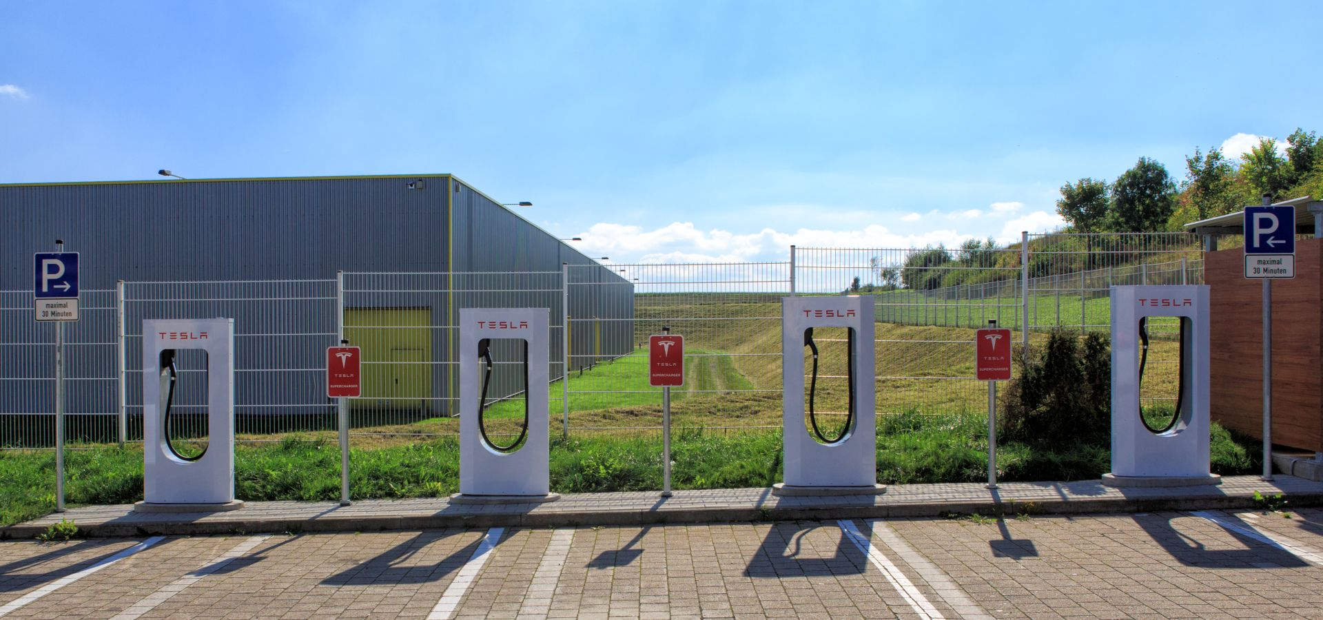 Tesla charging station in Münchberg, Germany