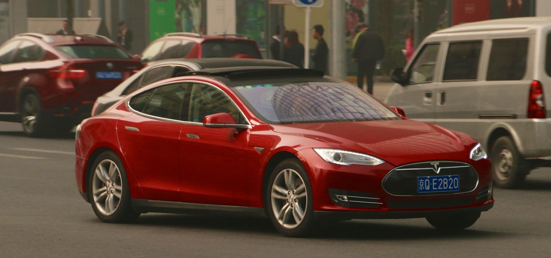 Red Tesla model S in Beijing