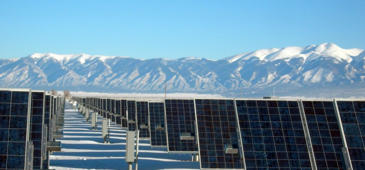 solar panels in ice and snow