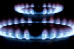 blue gas flame in darkness