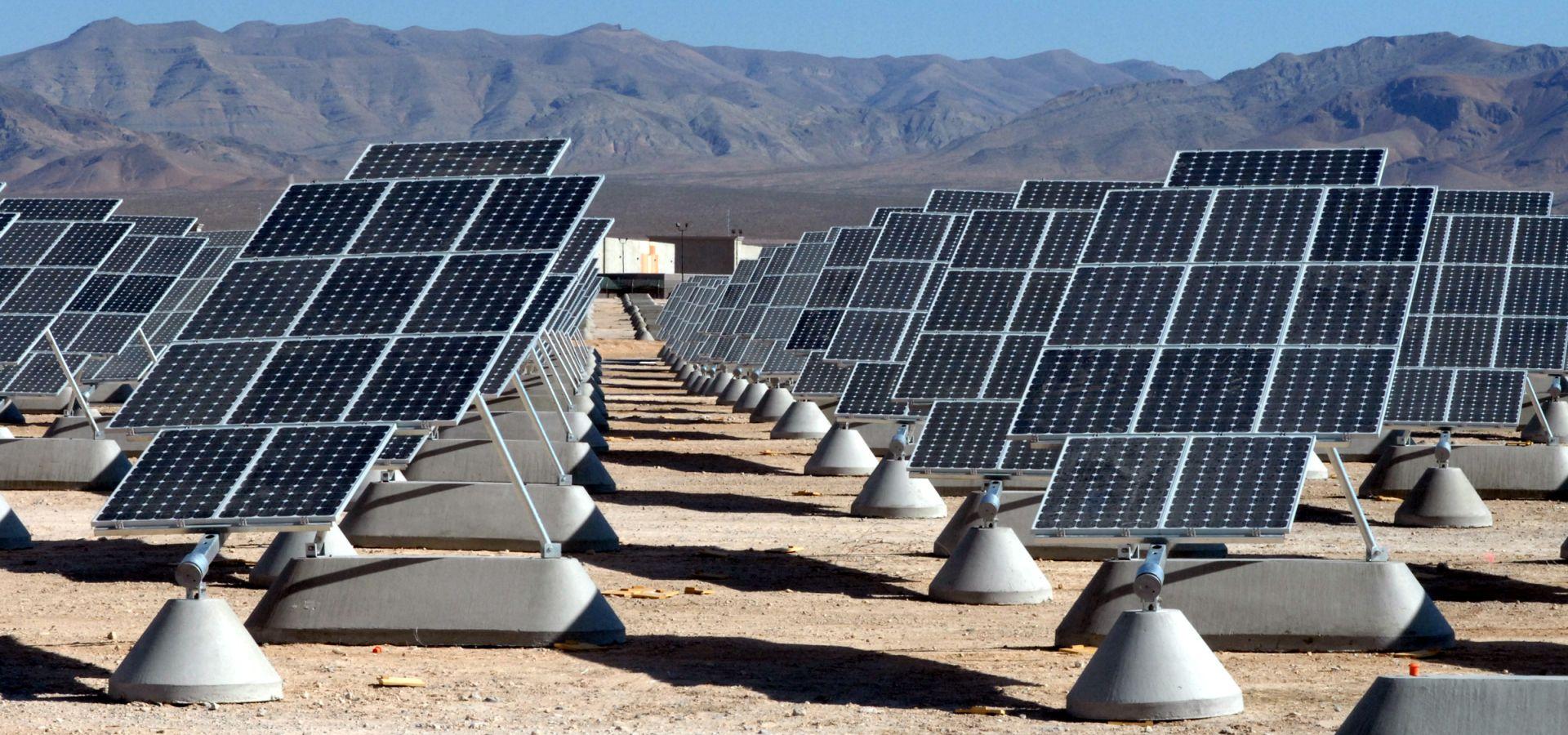 Dual-axis solar tracking arrays follow the sun like sunflowers do.