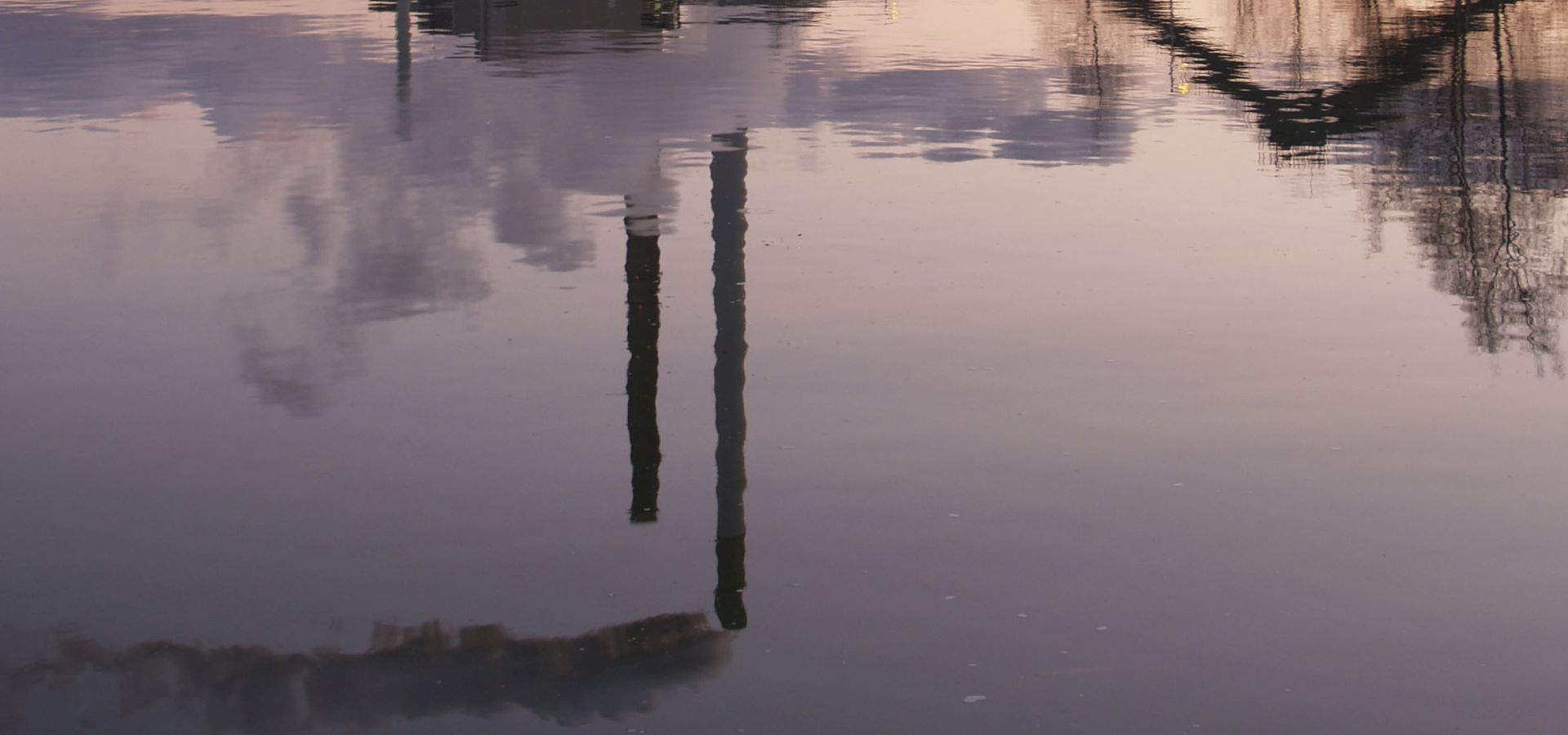 Datteln 4 smokestacks reflection underwater