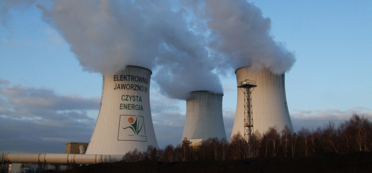 Jaworzno coal-powered station releasing clouds of smoke