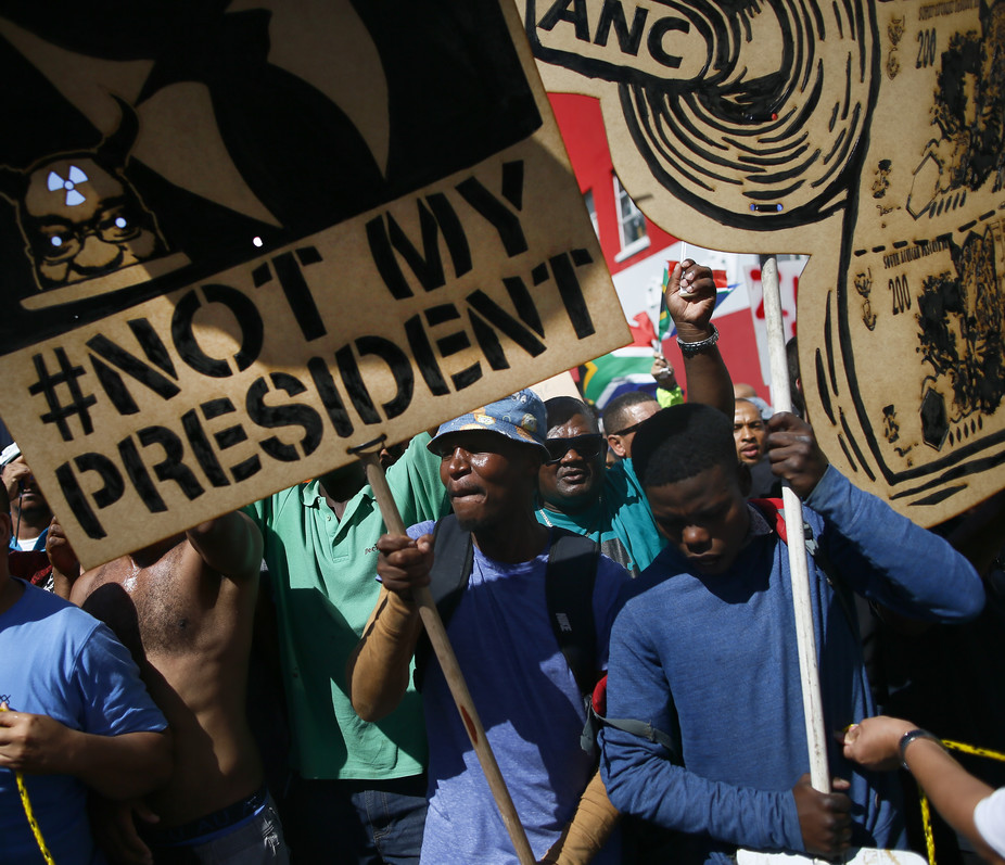 Recent protests against President Jacob Zuma outside parliament in Cape Town.
