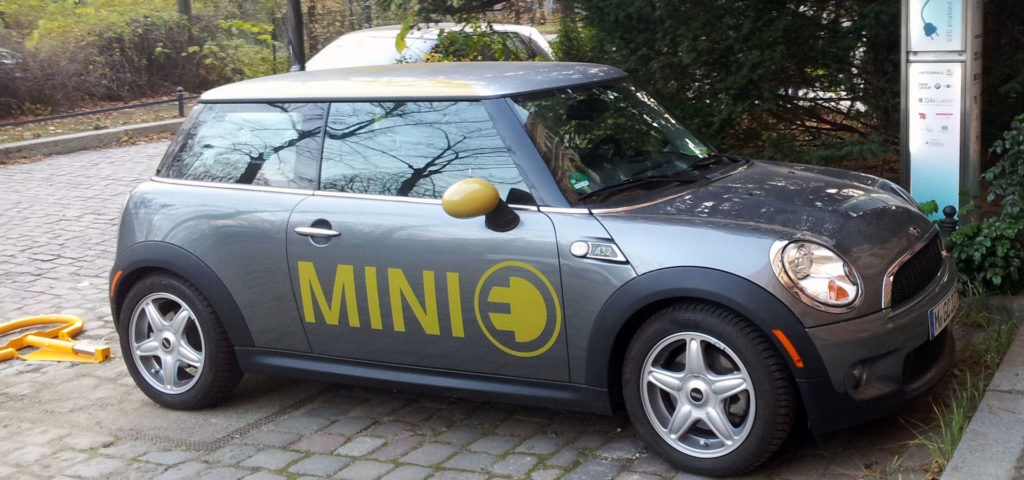 Mini E at a charging point on TU Berlin main campus