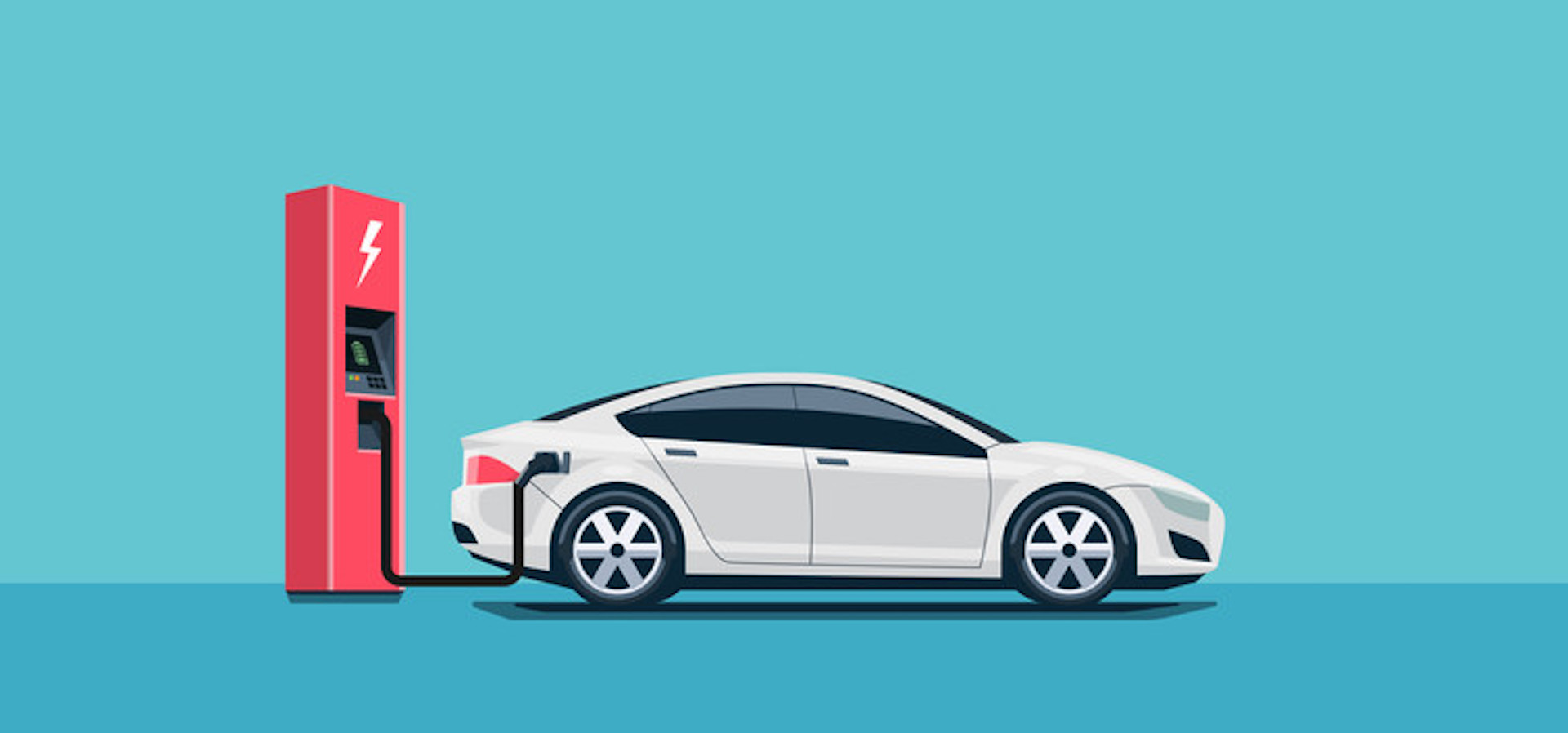 a cartoon of an electric car plugged into a red charging outlet