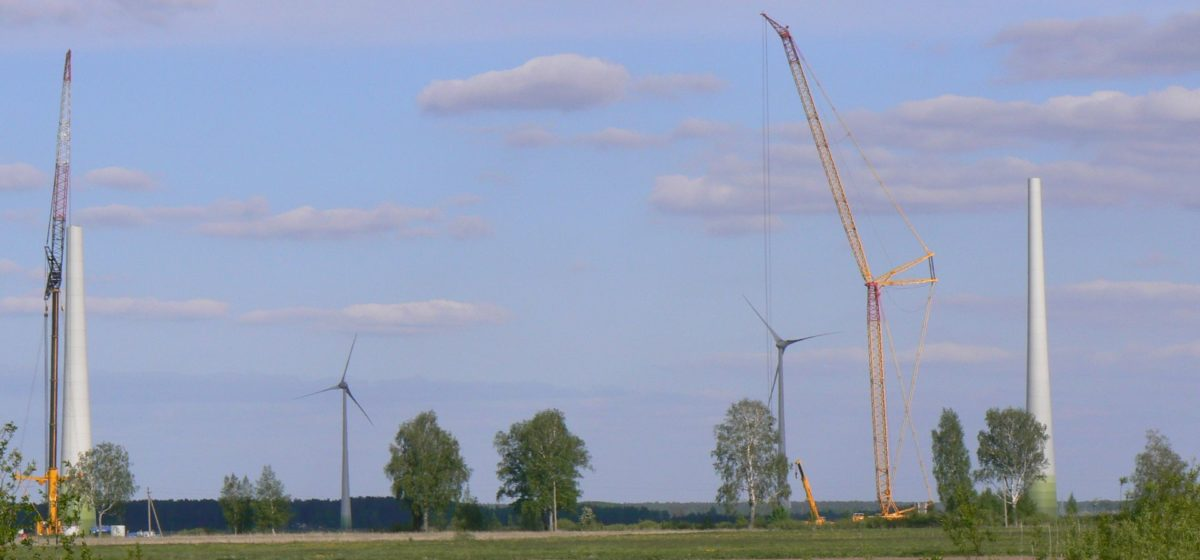 Wind power plant under construction near Vilkyčiai, Lithuania