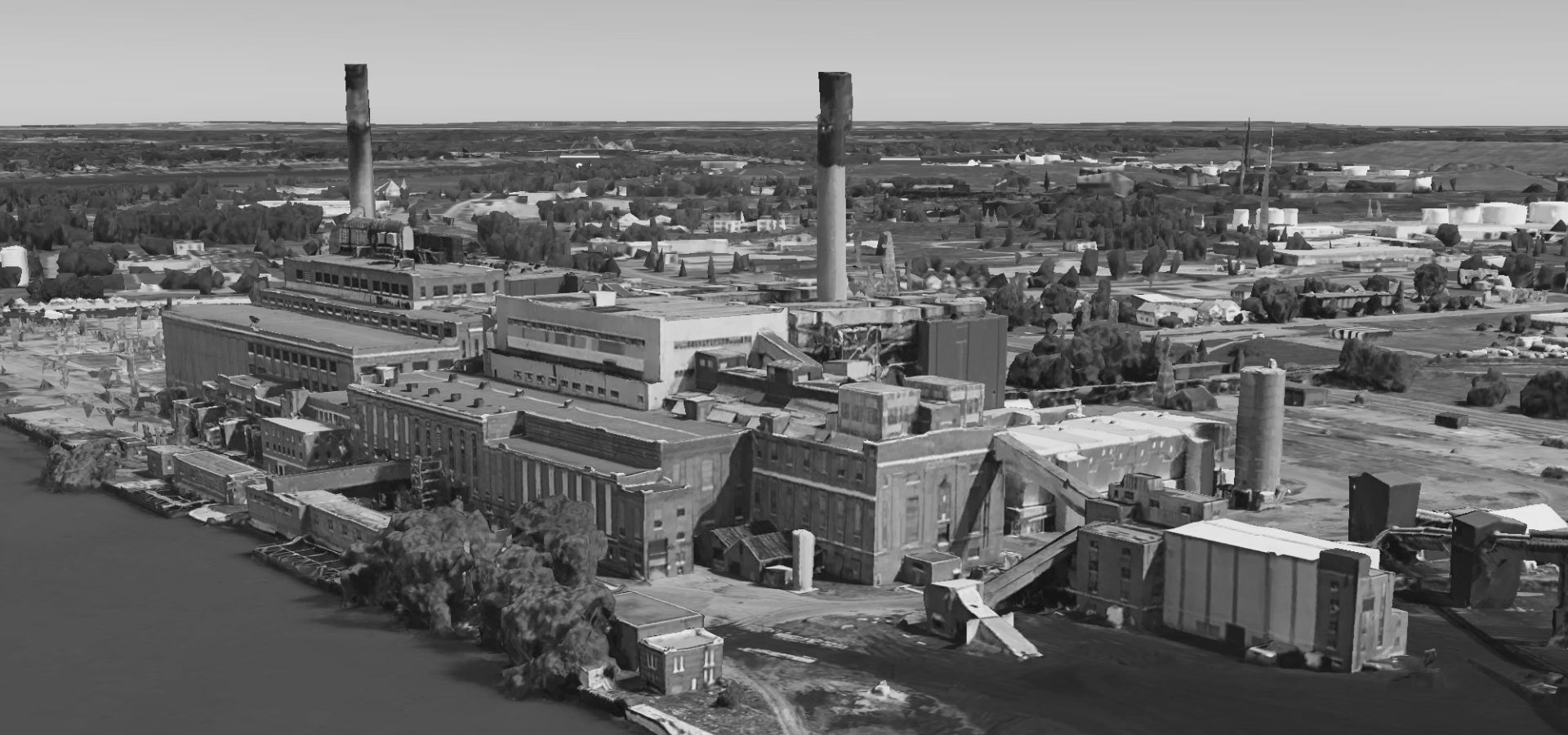The retired Huntley Generating Station on the banks of the Niagara River via Google Earth