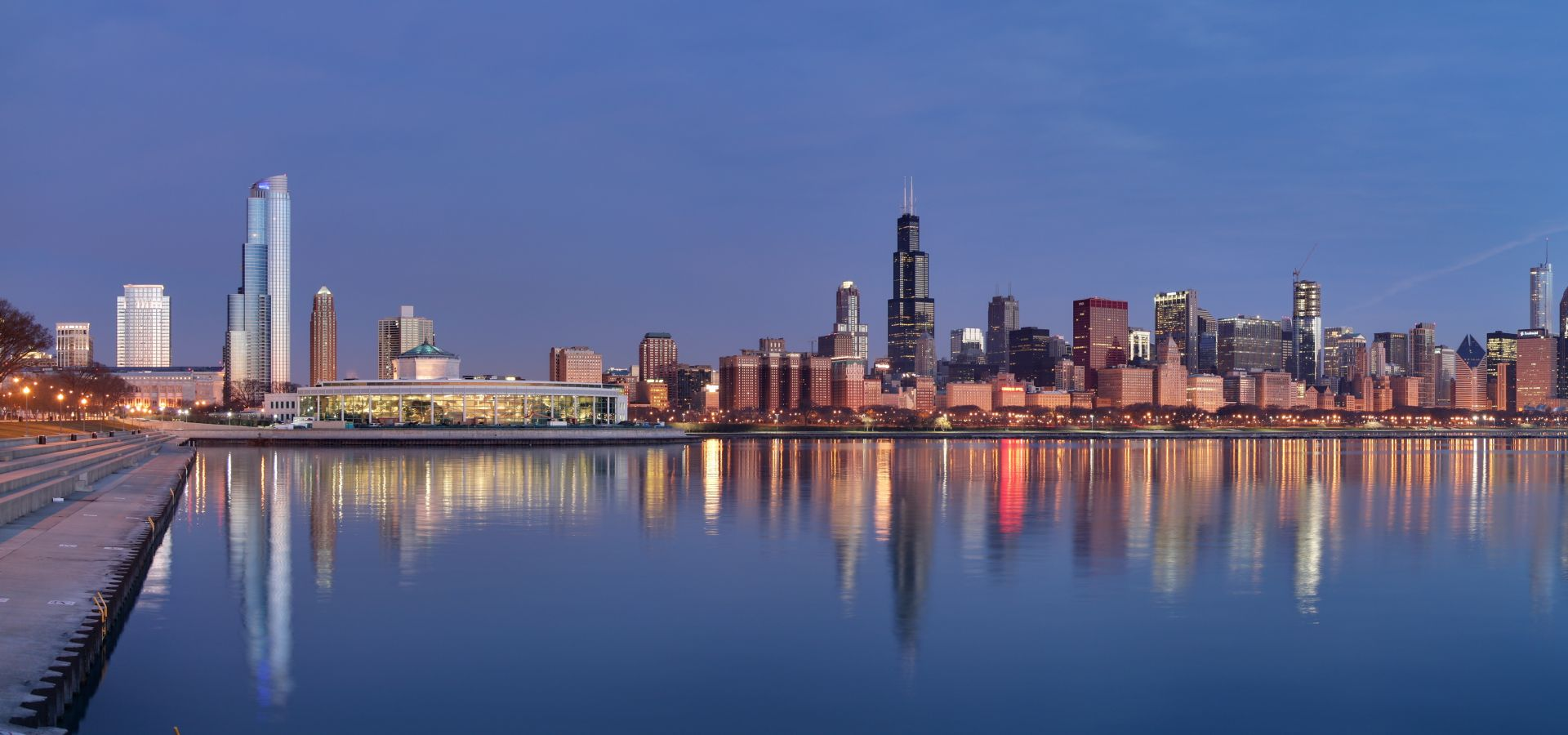 view of Chicago skyline at sunrise over the waterfront
