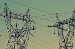 photo of power lines at sunset