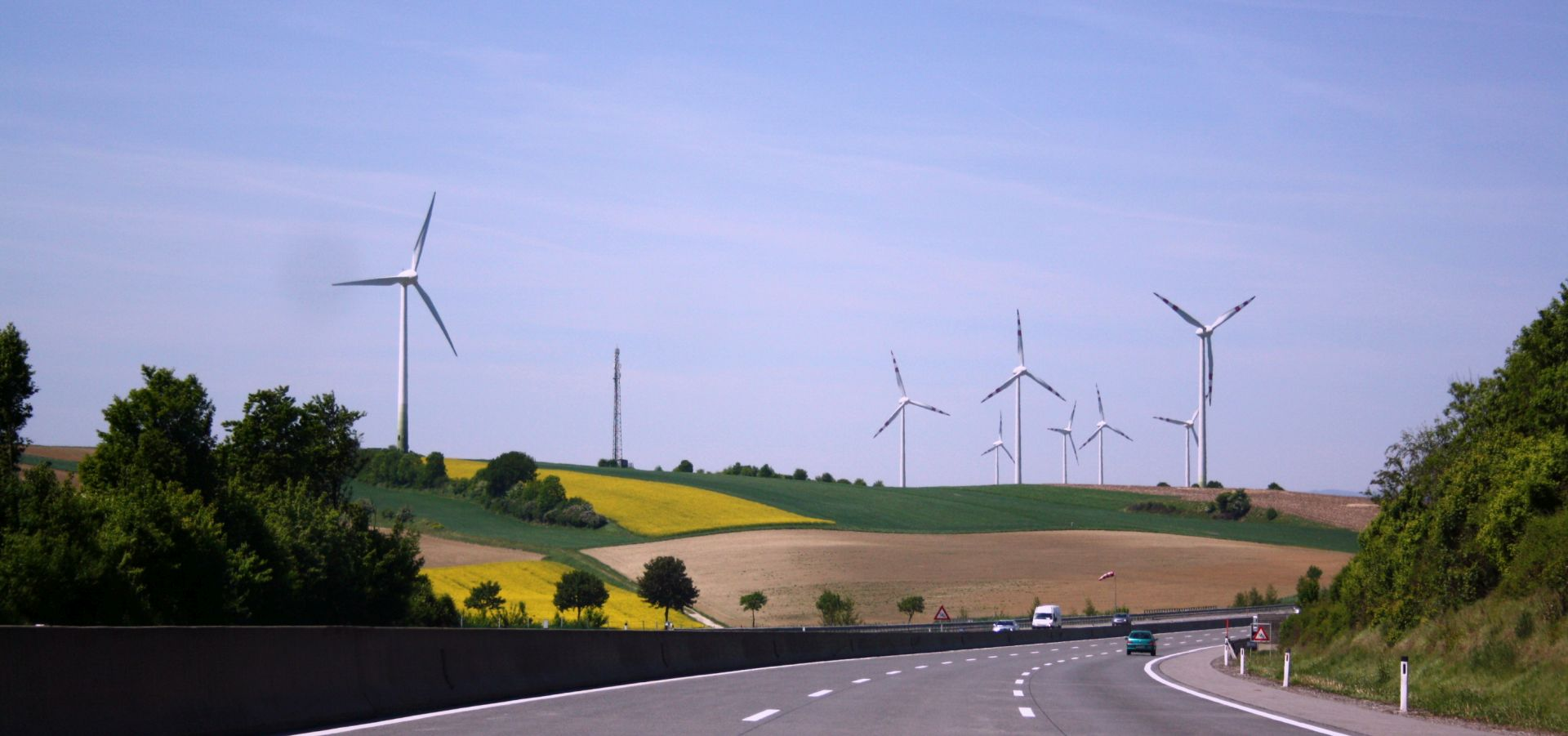 Germanys Energy Consumption In 2017 Transition Load Wind Turbine Wiring Diagram Get Free Image About Turbines Seen From The German Highway Fields Of Yellow Flowers