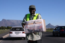 Jacob Zuma's photo appears across the front page of the Sunday edition of the Weekend Argus