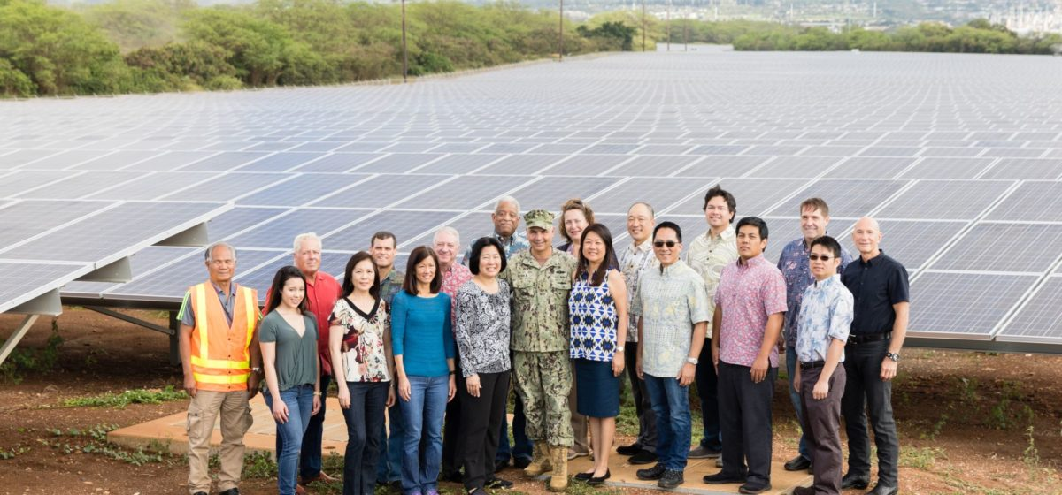 Seen here, the The Department of the Navy (DON), Pacific Energy Solutions (PES), LLC , Hawaiian Electric Company (HECO), and the Hawaii State Energy Office celebrated the completion of a 14.3 megawatt (MW) direct current (DC) solar facility