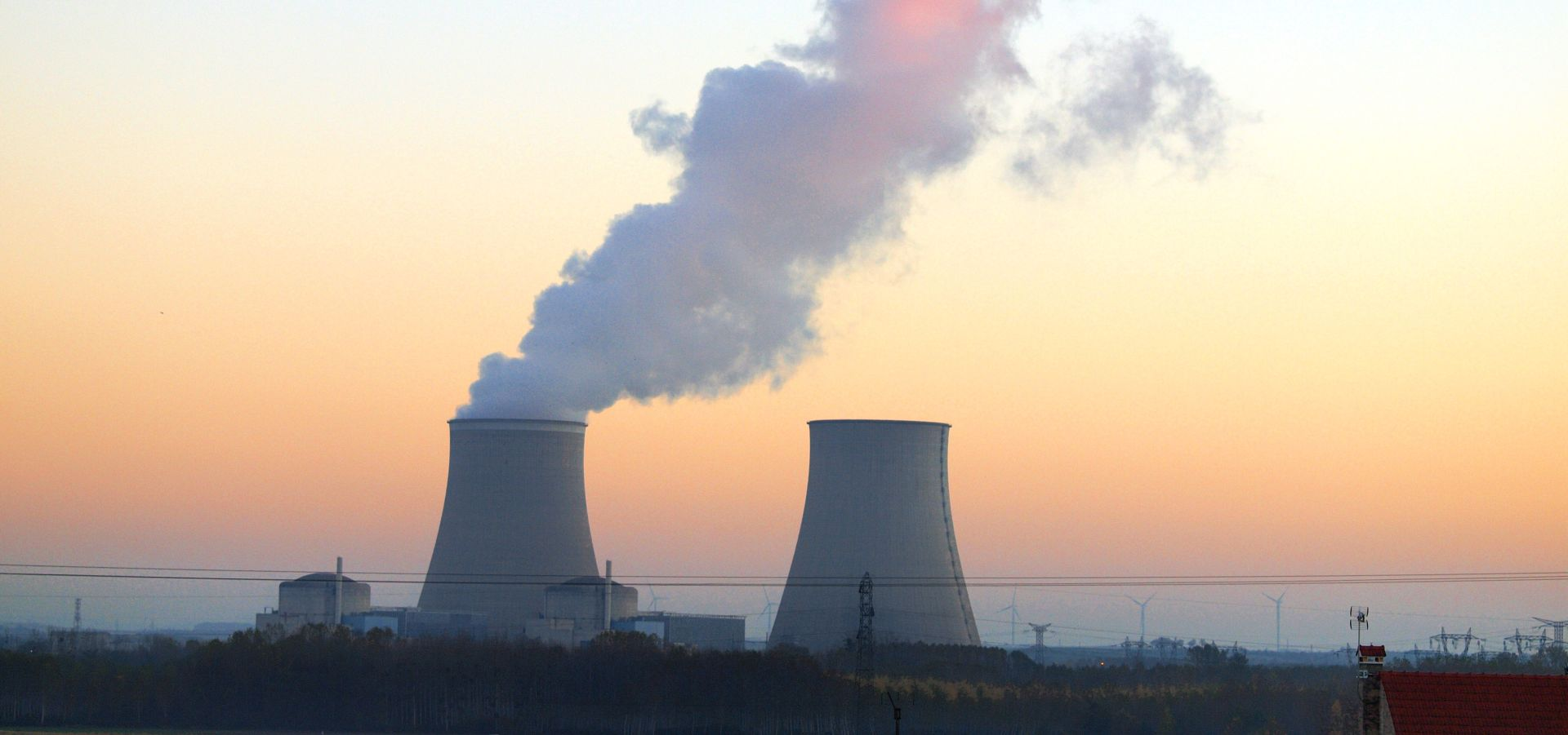 The french nuclear power plant at Nogent seen at sunset