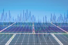 picture of solar panels overlayed with a graph of fluctuating energy costs
