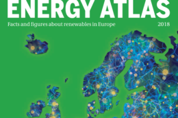 "cover of Energy Atlas 2018, with text reading ""facts and figures about renewables"""