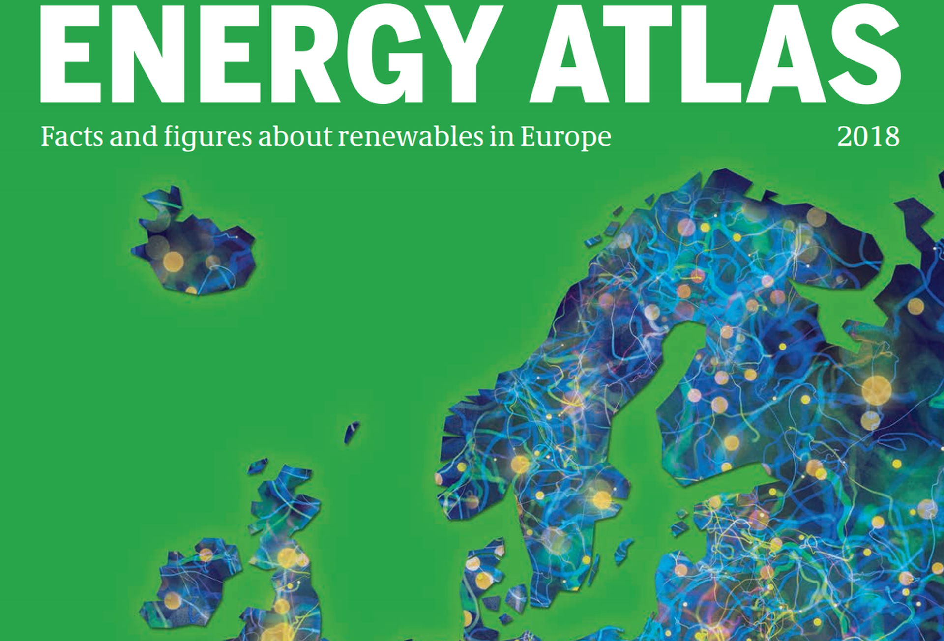 "cover of Energy Atlas 2018, with text reading ""facts and figures about renewables in Europe"""