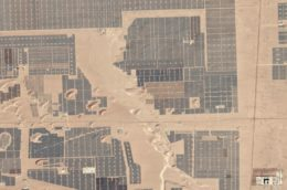 Chinese solar farm in the desert, seen from the air