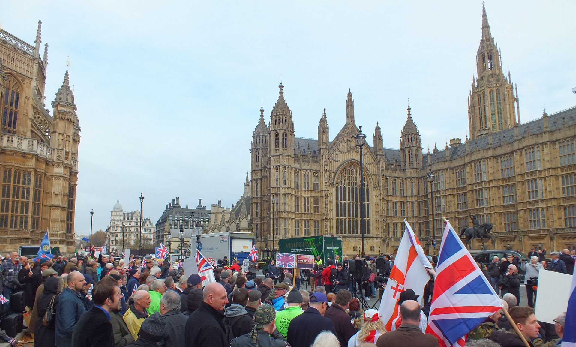 Photograph of a Brexit rally outside of Parliament 23/11/2016