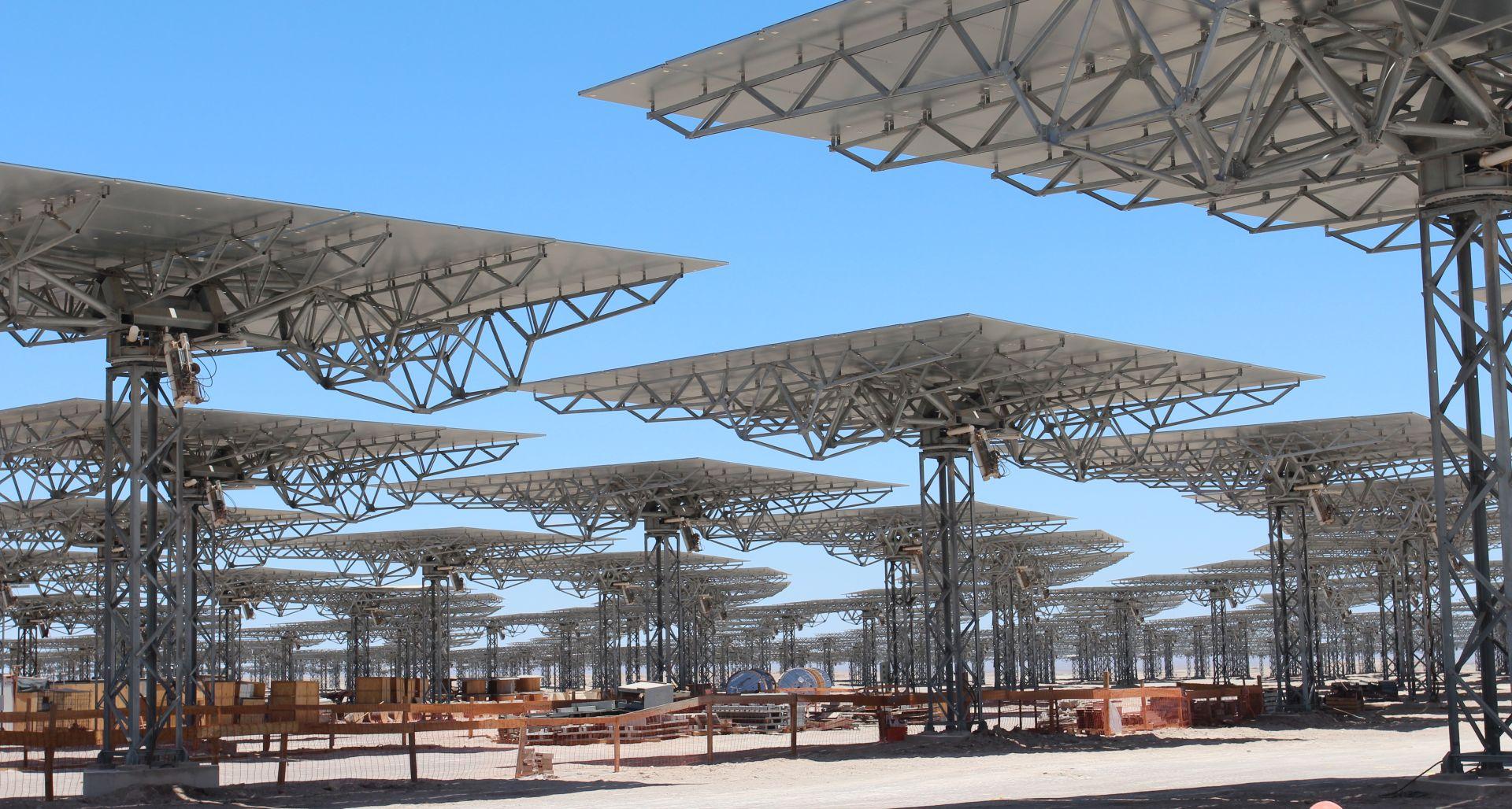 solar panel plant under construction