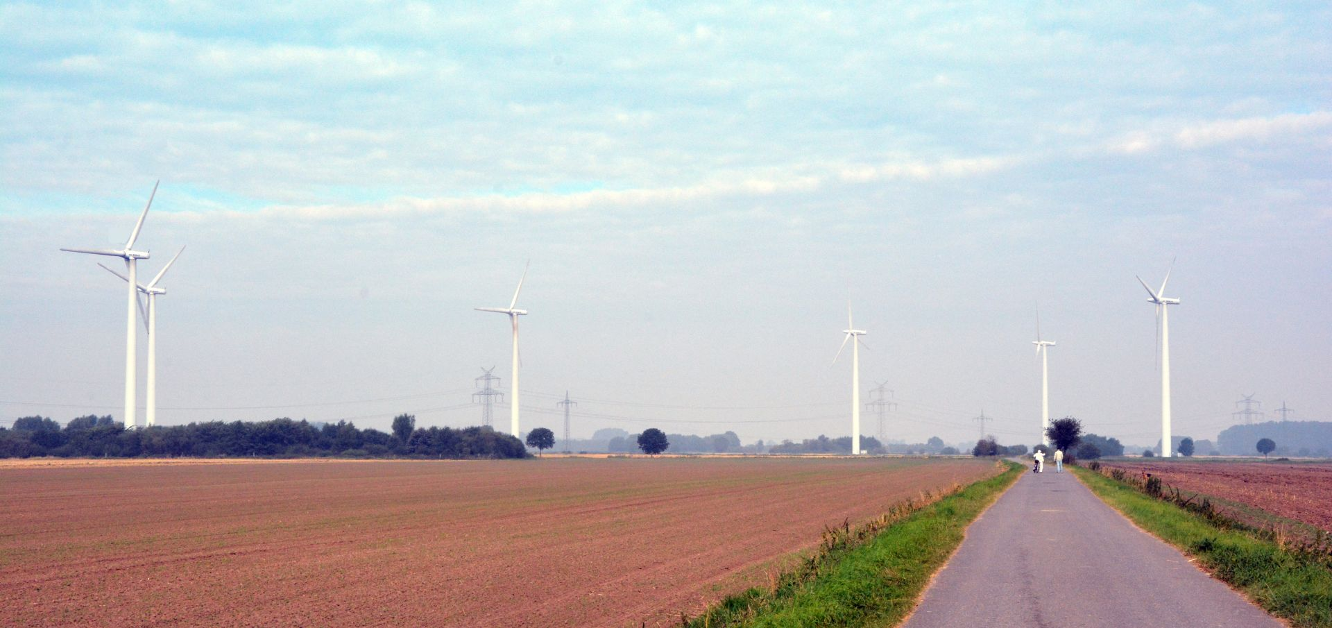 wind turbines in a field with a pathway and pedestrians