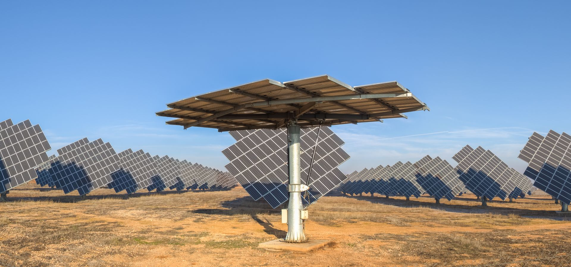 Panoramic view of the photovoltaic power station of Cariñena, Zaragoza, Spain