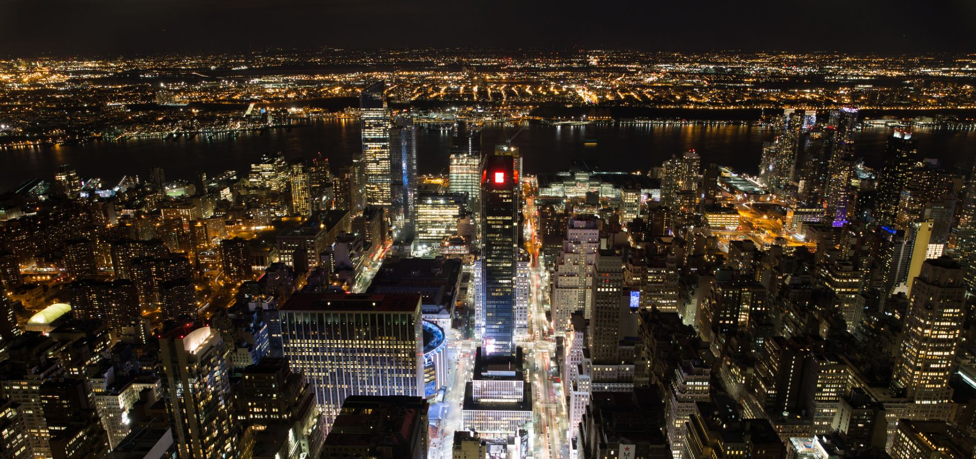 city lights of new york seen from above