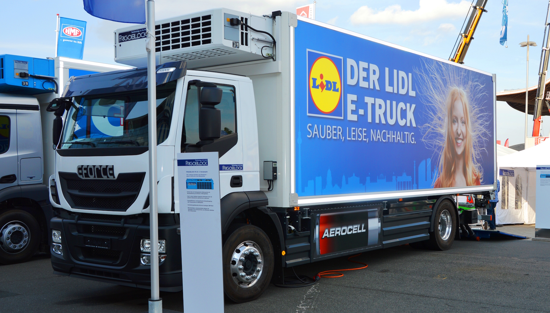 a parked electric truck from the German company Lidl