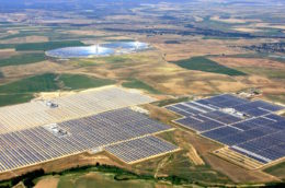 solar arrays in the Mexican countryside seen from the air
