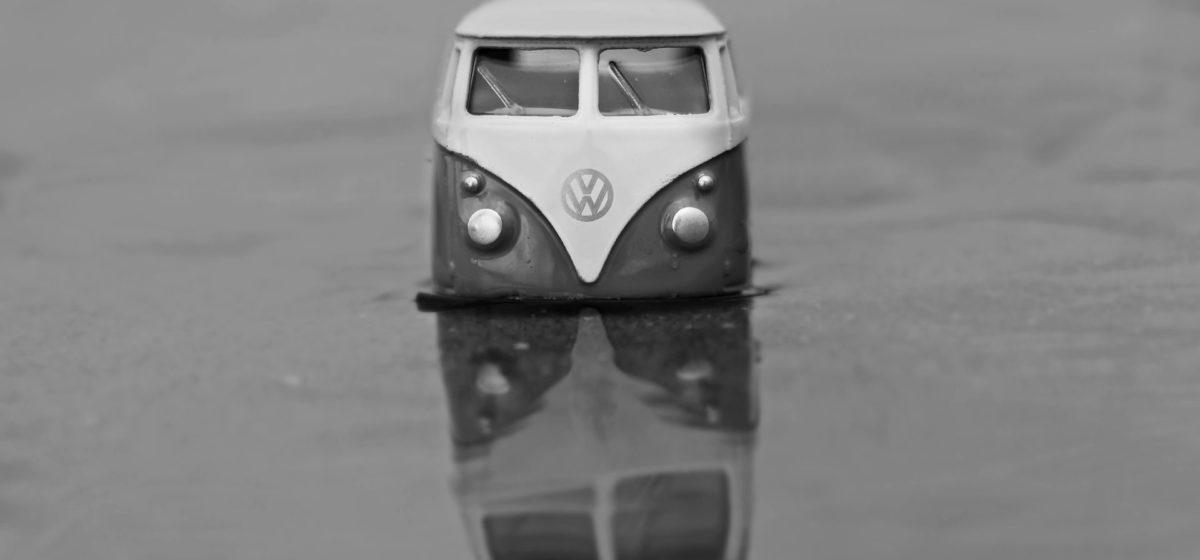 cult vehicle volkswagen minibus standing in water)