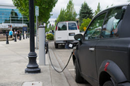 A charging station for electric cars in Hillsboro, Oregon