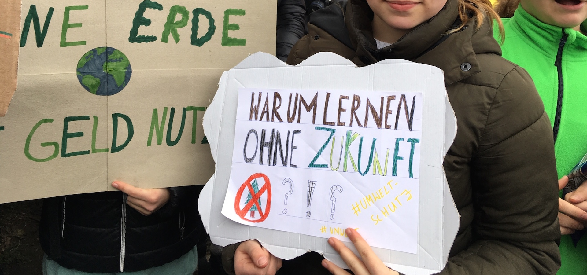 Posters of the demonstrators during the student demonstration Fridays for Future in Berlin