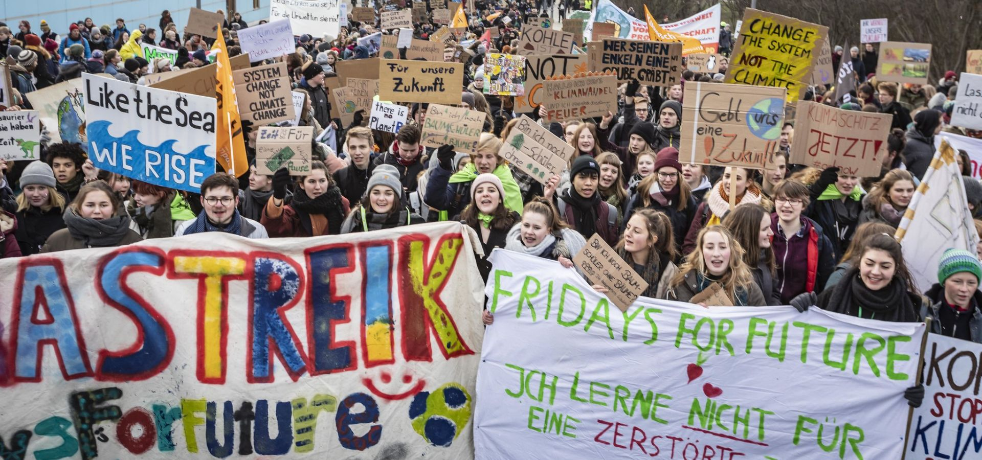 Young people protesting against the climate policies