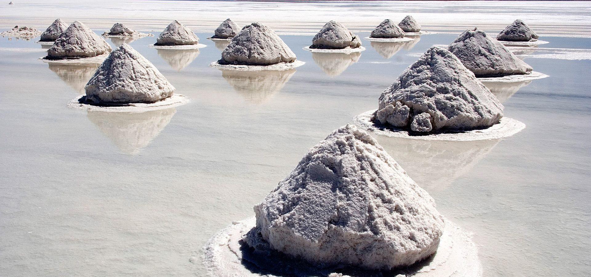 Piles of Salt Salar de Uyuni Bolivia