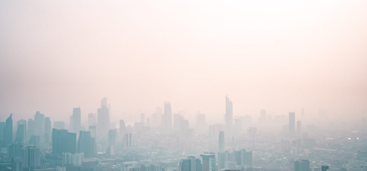 smogged city skyline
